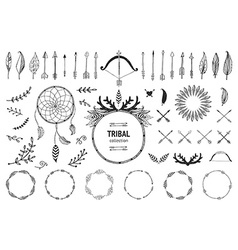Hand drawn tribal collection vector image