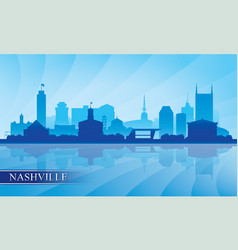 nashville city skyline silhouette background vector image