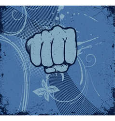 vintage grunge background with fist vector image vector image