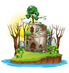 a fantasy house on island vector image