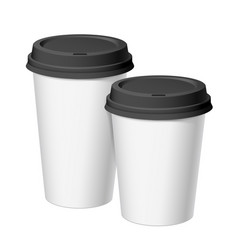 A set of white realistic disposable cups of paper vector