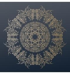 Abstract golden microchip pattern mandala vector