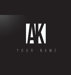 ak letter logo with black and white negative vector image