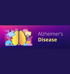 alzheimer disease concept banner header vector image