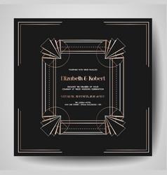Art deco wedding invitation save date card vector