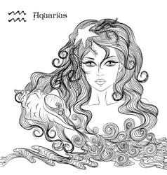 Astrological sign of Aquarius as a beautiful girl vector