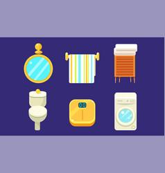 bath equipment and accessories set bathroom vector image