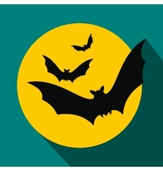 Bats fly to the moon flat icon vector