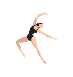 Beautiful slim ballerina dancing in black leotard vector