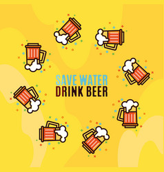 Beer in glass mugs thin linear style vector