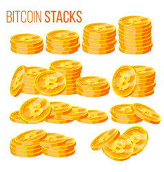 bitcoin stacks set crypto currency vector image