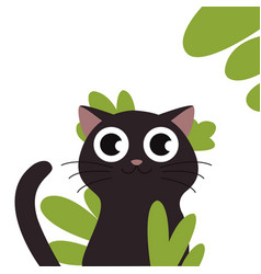 black cat head face silhouette vector image