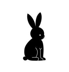 Black hare silhouette vector
