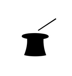 black silhouette of magic cylinder top hat and vector image