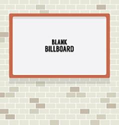 Blank Advertising Billboard On Brick Wall vector