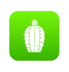 Blooming cactus icon digital green vector
