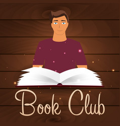 Book club reading club open book with mystic vector