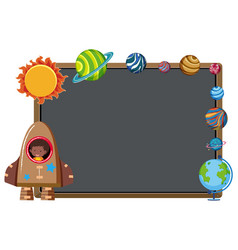 Border template with rocket and planets vector