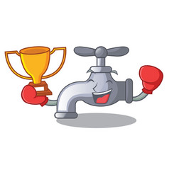 boxing winner water tap in shape wooden cartoon vector image