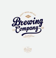 Brewing company logo pub emblem vintage vector