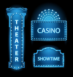 brightly blue theater glowing retro cinema neon vector image