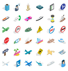 Car traffic icons set isometric style vector