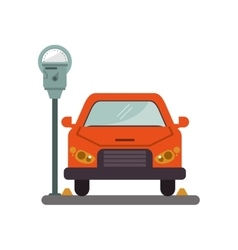 Car vehicle and parking meter design vector