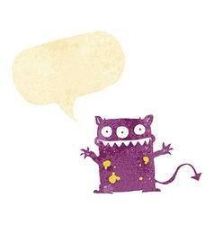 Cartoon little monster with speech bubble vector