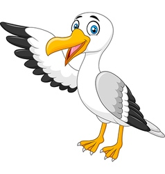 Cartoon seagull presenting isolated vector