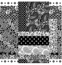 cashmere paisley bandana fabric patchwork vector image