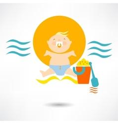 child on a beach vector image