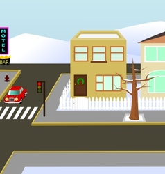 Christmas town view vector