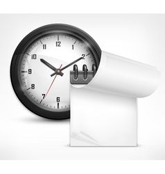 clock and notebook vector image
