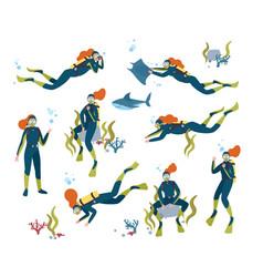 collection gorgeous redhead female scuba diver vector image