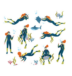 collection of gorgeous redhead female scuba diver vector image