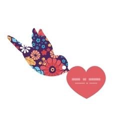 Colorful bouquet flowers birds holding vector
