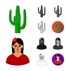 Country mexico cartoonblackflatmonochrome vector