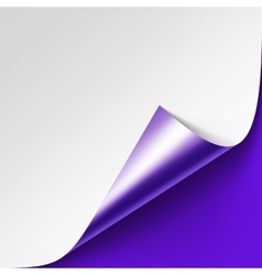 Curled metallic corner of paper on background vector