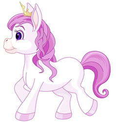 Cute horse princess walking vector