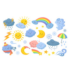 cute weather isolated rainbow cartoon rain and vector image