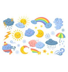 Cute weather isolated rainbow cartoon rain vector