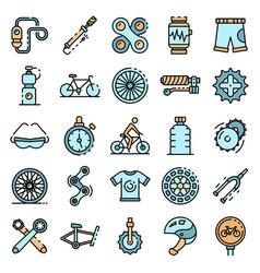 Cycling equipment icons set flat vector