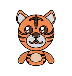 draw tiger animal comic vector image vector image