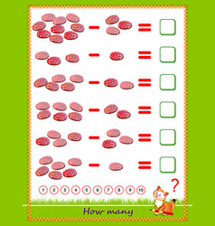 Educational page for children on subtraction vector