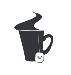 emblem of a cup of tea with a sachet and a steam vector image