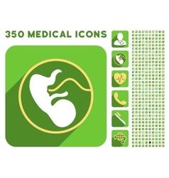 Embryo Uterus Icon and Medical Longshadow Icon Set vector