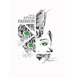 Fashion girl and cat in sketch-style vector image