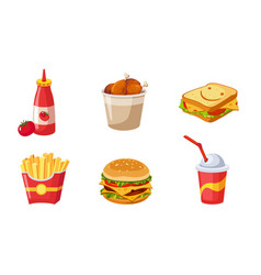 fast food dishes set ketchup bottle drumstick vector image