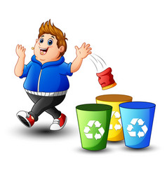 fat boy throws garbage in the trash vector image