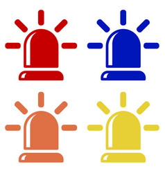 Flasher icons alarm siren red blue orange and vector